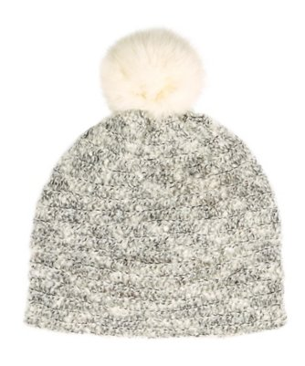 Balmoral Boucle Hat with Fur Pom