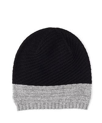 colorblock cashmere hat