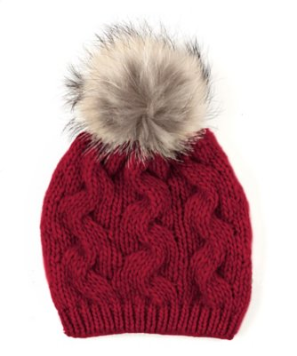 cable hat with raccoon fur pom
