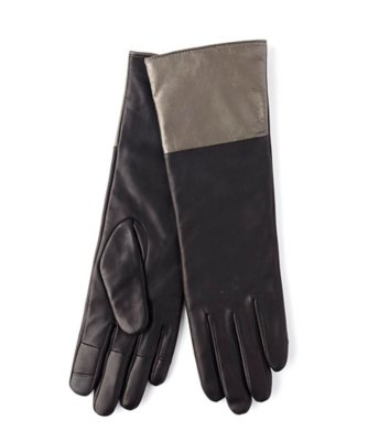 echo touch long leather colorblock glove