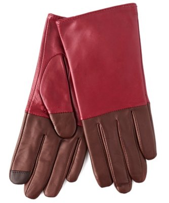 echo touch leather colorblock glove