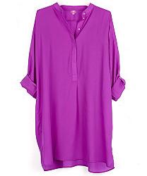 solid silky shirt dress