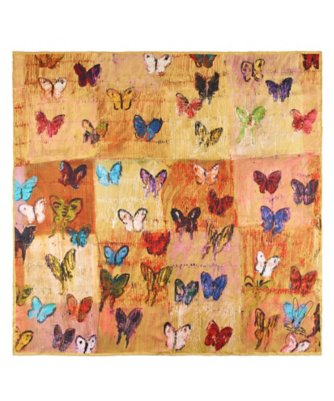 butterfly fields silk square scarf by Hunt Slonem