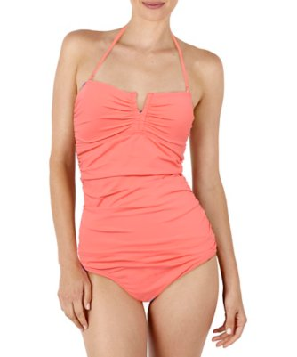 solid v front ruched one-piece
