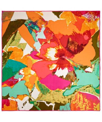 colorblock flower silk square scarf