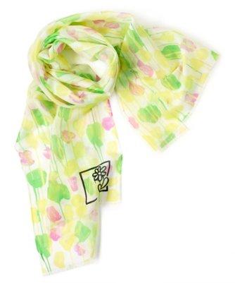 michael defeo paint drippings silk blend scarf