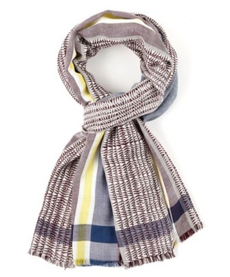 ethnic bordered woven stripe scarf