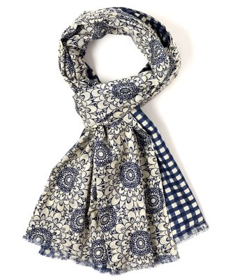 double faced floral-to-plaid scarf