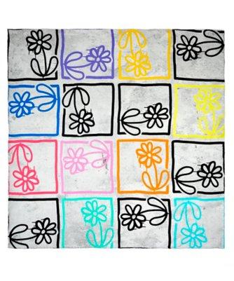 michael de feo flower tag silk square scarf
