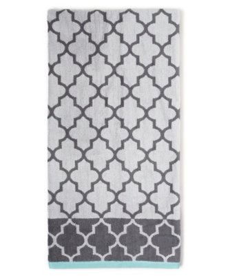 fretwork bath towel in charcoal