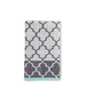 fretwork hand towel in charcoal