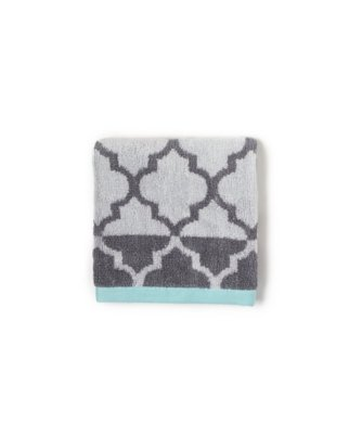 fretwork wash cloth in charcoal