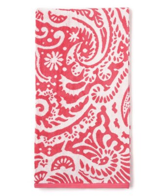 marrakesh bath towel in bright coral
