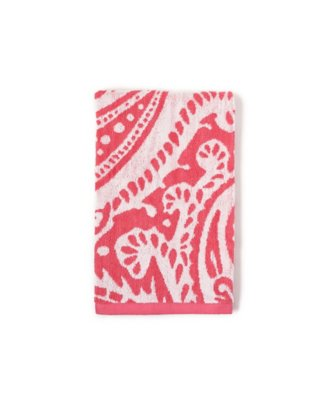 marrakesh hand towel in bright coral